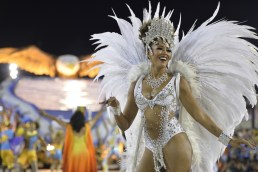 A dancer performs during the parade on the second performing night of the Special Group of the Rio de Janeiro Carnival, at the Sambadrome Rio Carnival, Rio de Janeiro, Brazil - 16 Feb 2015 (Photo Credit: Xinhua News Agency/REX)