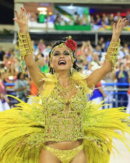 RIO DE JANEIRO, BRAZIL - FEBRUARY 17: A reveller participates in the carnival samba parade at the Sambadrome on February 17, 2015 in Rio de Janiero, Brazil. (Photo Credit: Xinhua /Landov / Barcroft Media)