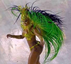 A reveller from the Viradouro samba school participates in the annual carnival parade in Rio de Janeiro's Sambadrome, February 15, 2015. (Photo Credit: REUTERS/Ricardo Moraes)