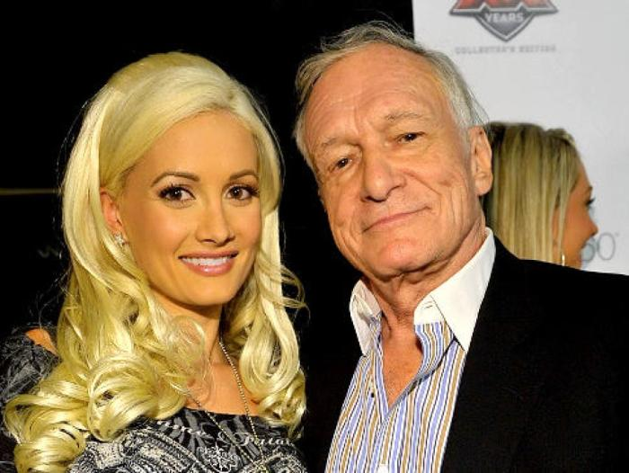 Holly Madison with Playboy founder Hugh Hefner