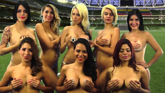 8 crew members of a news show, Desnudando La Noticia stripped totally naked in Venezuela to wish the national team well for the Copa America tournament set to hold on Thursday, June 12, 2015 in Chile. (Photo Credit: Youtube)