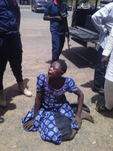 The Boko Haram suspect arrested dressed as a woman in Yola (Photo Credit: Facebook)