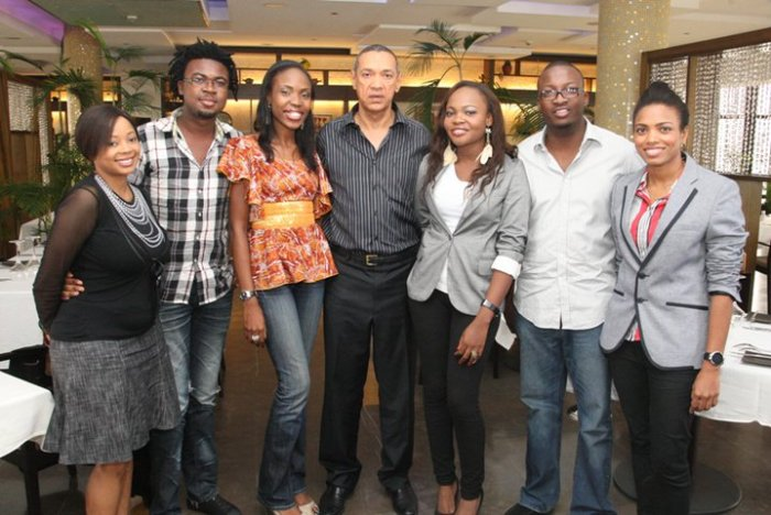 Onyeka Nwelue (second from left) and Senator Ben-Murray Bruce (middle) in 2011 (Photo Credit: Onyeka Nwelue)
