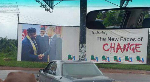 Rochas erected this billboard in Imo State after his visit to the US with General Muhammadu Buhari.