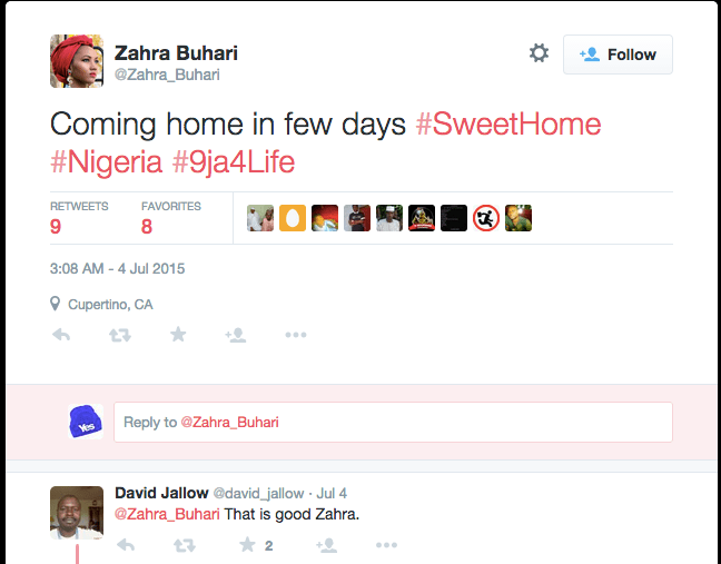 Zahra Buhari Tweets