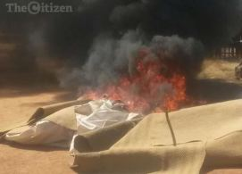 South African vigilante group, the Economic Freedom Fighters (EFF) on Sunday, August 9, 2015 dismantled a tent which he used by controversial Prophet Penuel Mnguni, of the End Times Disciples Ministries. (Photo Credit: Citizen)