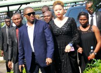Chief Femi Fani-Kayode (3rd-l) and wife, Precious Chikwendu