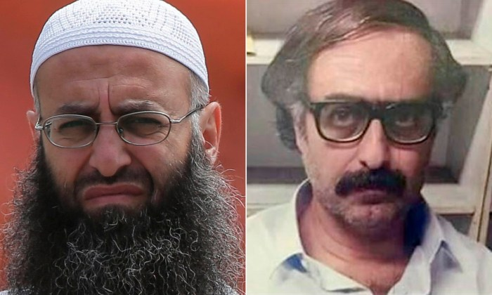 A composite picture of Ahmad al-Assir, with the image on the right showing his most recent appearance. (Photo Credit: Getty Images/Daily Star Lebanon)