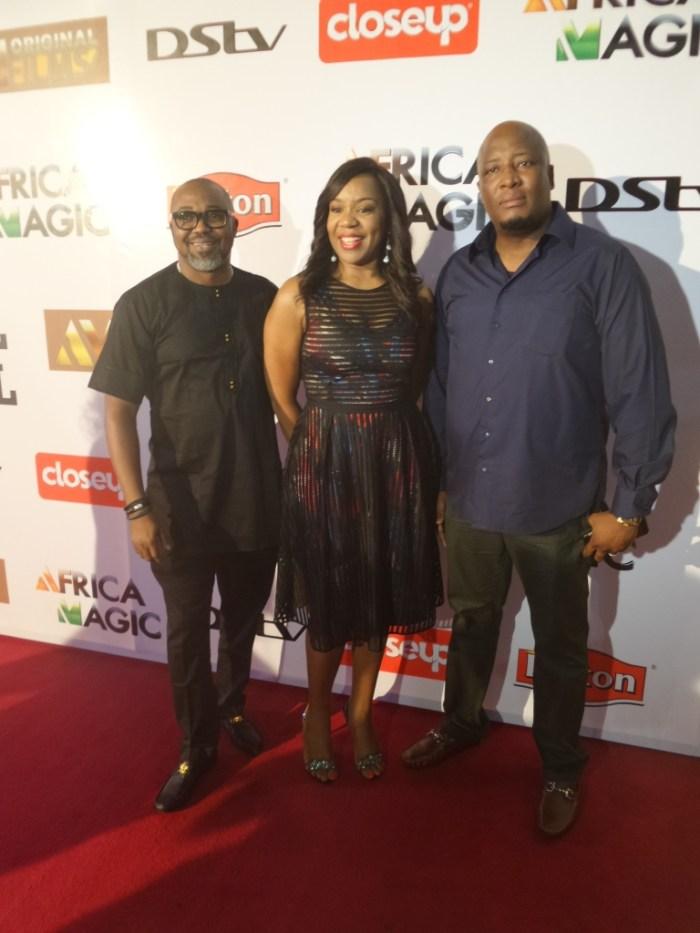 John Ugbe (MD Multichoice Nig), Wangi Mba Uzoukwu (Reg Director Mnet West Africa), Martin Mabutho (GM Marketing Multichoice Nig)