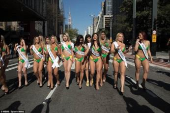 2015 Miss Bumbum contestants strolled the streets of Sau Paulo, Brazil on Tuesday, August 4, 2015 ahead of the finals. (Photo Credit: MBBS/Splash News)