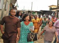 Nollywood actress Tonto Dike h had her marriage introduction with her boyfriend, Oladunni Churchill in Port Harcourt.