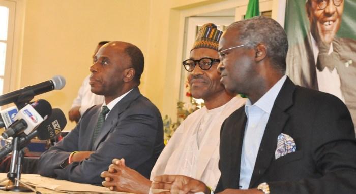 L-R: Amaechi, Buhari and Fashola during the 2015 Presidential Campaigns