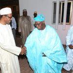 Former President Olusegun Obasanjo visits President Buhari in Aso Rock in August, 2015 (State House Photo/Sunday Aghaeze)