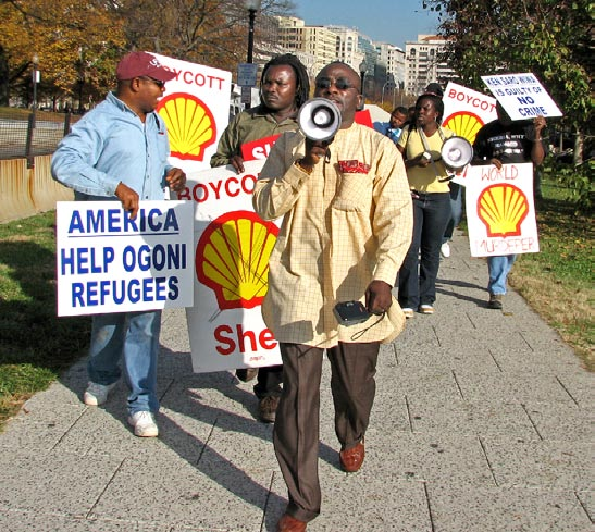 Protestors in the United States against Shell's role in the murder of Saro-Wiwa other crimes against the Ogoni people (Photo Credit: Peace Council)