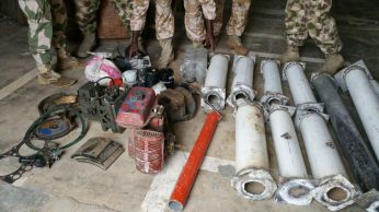 Pile of street lamps poles cut into pieces by Boko Haram terrorists which they use in making Improvised Explosives Devices discovered by the Nigerian troops on Wednesday, August 5, 2015 in Dikwa, Borno State. (Photo Credit: PR Nigeria)