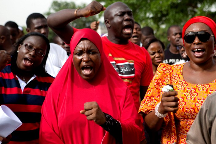 #BringBackOurGirls campaigners protest the abducted in the remote village of Chibok of 200 schoolgirls by Boko Haram, during a protest at Unity Park in Abuja May 11, 2014. | Reuters/Joe Penney