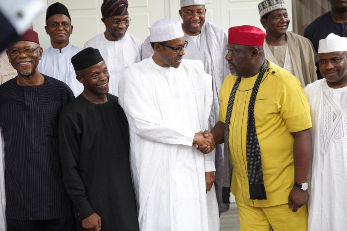 APC Governors and Governors-Elect visit President Elect, General Muhammadu Buhari before the May 29 inauguration. Buhari (front middle) shakes hands with Governor Rochas Okorocha. To his right is Vice President Elect, Professor Yemi Osinbajo and behind him is Kaduna Governor Elect, Nasir El Rufai.