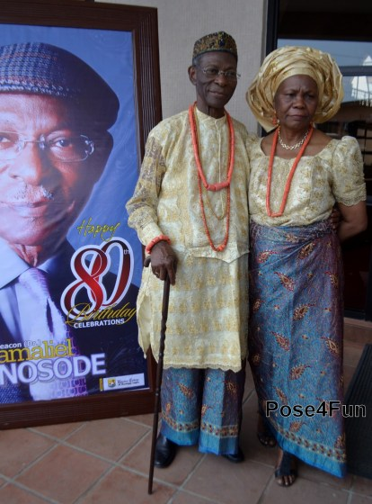 Dr. Gamaliel Onosode and his wife at the statesman's 80th birthday celebration on May 22, 2013 | Sunday Ohwo