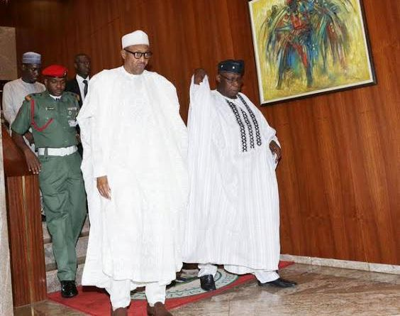 President Muhammadu Buhari and former President Olusegun Obasanjo, emerge after a closed door meeting at the Presidential Villa on Tuesday, September 2, 2015