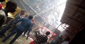 Fire outbreak rocked Balogun Market In Lagos island on Thursday, September 3, 2015 (Photo Credit: NAN)
