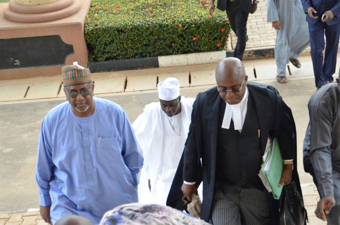 Former National Security Advisor, Sambo Dasuki arrives the Federal High Court, Abuja with his lawyer, Ahmed Raji, September 1, 2015 (Photo Credit: PR Nigeria)