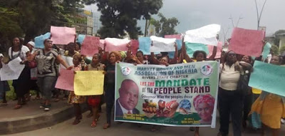 Market women in Rivers state protest the nullification on Governor Wike's election