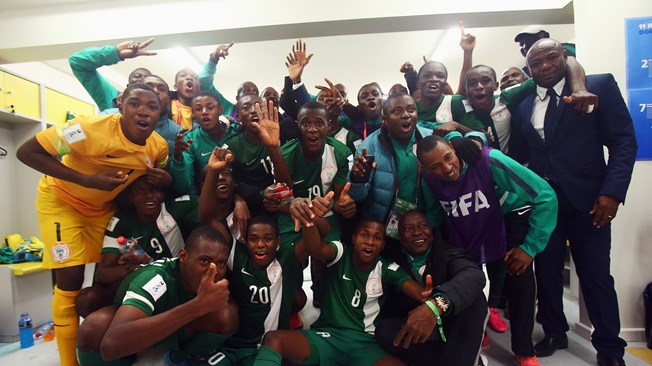 The Golden Eaglets celebrate their semi-final triumph | Getty Images
