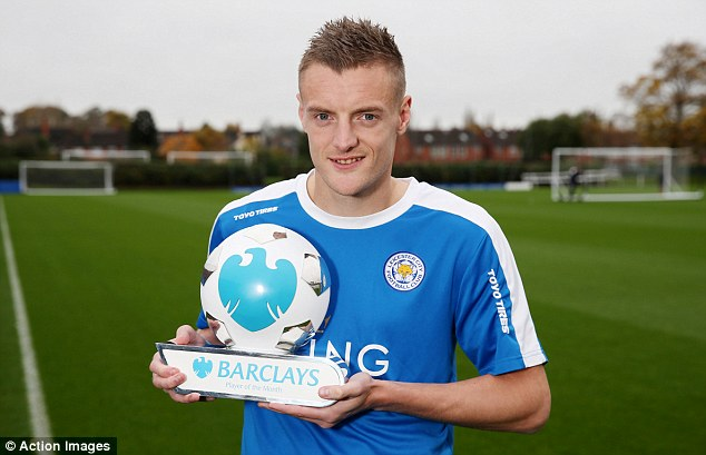 Jamie Vardy has been named English premier league player of October 2015
