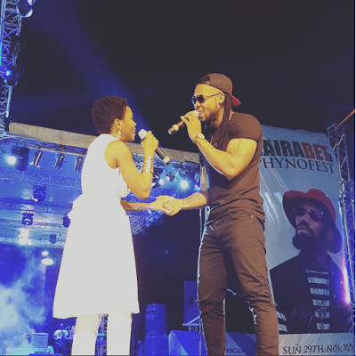 Flavour and Chidinma at a stage performance of Ololufe in Onitsha