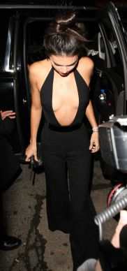 Kendall Jenner is stunning in a plunging black jumpsuit for her 20th birthday | Splash