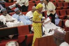 Senator Remi Tinubu, wife of APC National Leader, Bola Tinubu as she sits on seat reserved for the Deputy Senate President in the Senate Chambers at the National Assembly Complex in Abuja on Wednesday, November 18, 2015