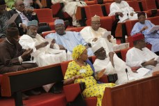 Senator Remi Tinubu, wife of APC National Leader, Bola Tinubu has she sits on seat reserved for the Deputy Senate President in the Senate Chambers at the National Assembly Complex in Abuja on Wednesday, November 18, 2015