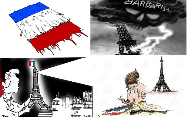 Cartoonists from around the world expressed solidarity with France| Steve Sack/Plantu/Carlos Latuff/Osama Hajjaj