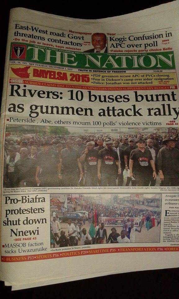 The Nation's cover containing APC Propaganda material - a fake story - for Rivers | Facebook