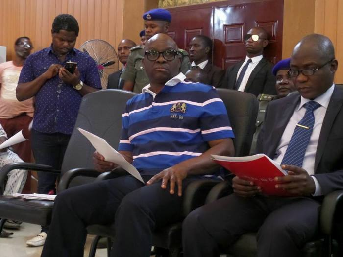 Governor Ayodele Fayose (l) of Ekiti State presents budget to State House of Assembly   Facebook