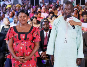The 'Snake man' Mr Jude Oraka from Anambra State, after receiving prayer from TB Joshua during a prayer service at The Synagogue, Church Of All Nations (SCOAN) in Lagos State | TB Joshua/Facebook