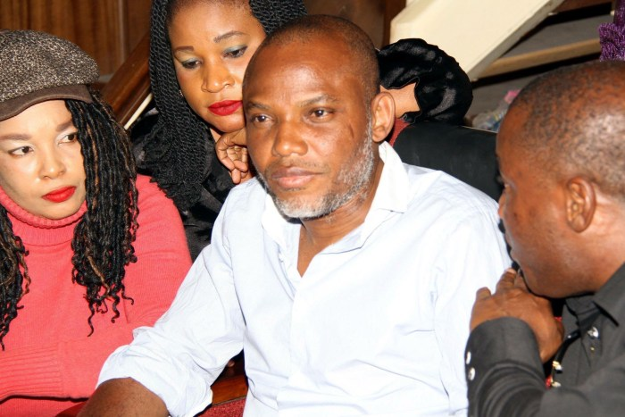 Indigineous People of Biafra (IPOB) leader, Nnamdi Kanu appears in court on Wednesday, December 22, 2015   Facebook