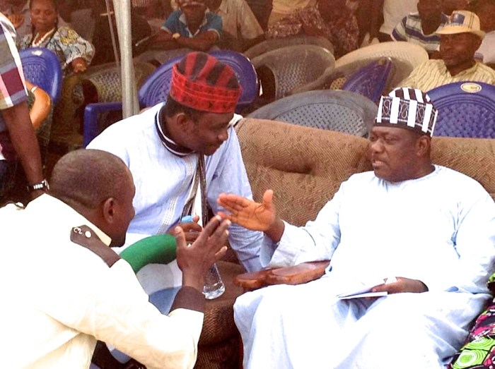 Daniel Onjeh receiving directives from Senator George Akume during one of Onjeh's campaigns. | Facebook
