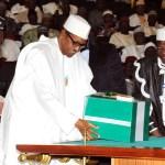 Ita Enang presents 2016 budget to senate with Muhammadu Buhari