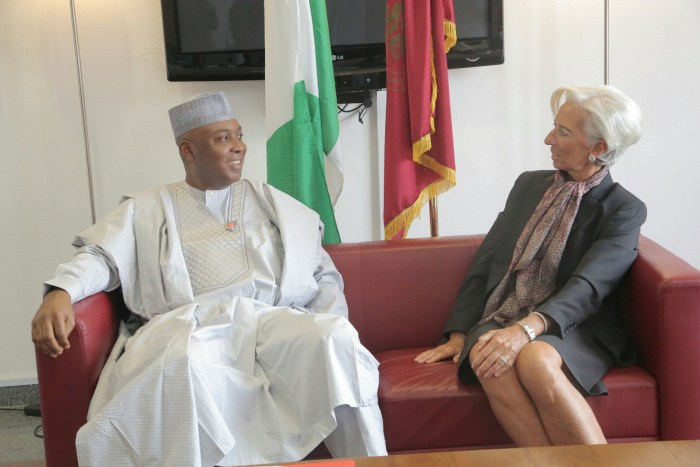 IMF Boss, Christine Lagarde   (r) visits Senate President, Dr. Bukola Saraki on Wednesday, January 6, 2015 as part of her 4-day visit to Nigeria | Senate Photo