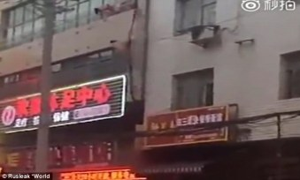 Naked man fell to the ground floor from the third floor of a building in China during his escape bid after a man caught him in bed with his wife | Rusleak World