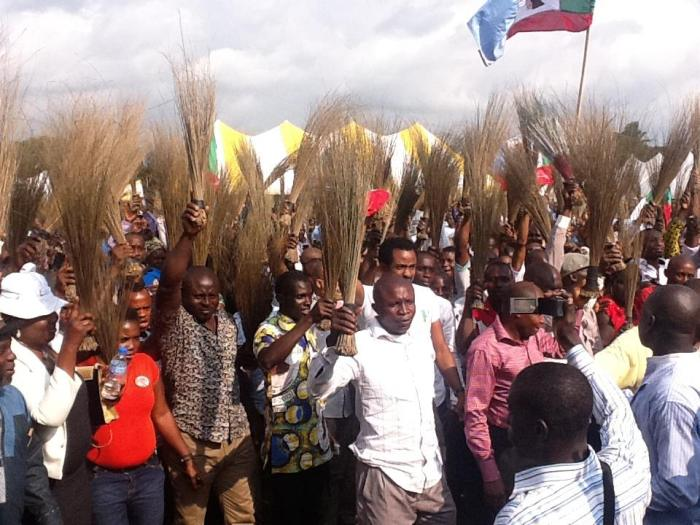 Sai Barbarians: The real life versions online supporters of Buhari pictured at a rally of the the All Progressives Congress (APC) during the 2015 campaigns