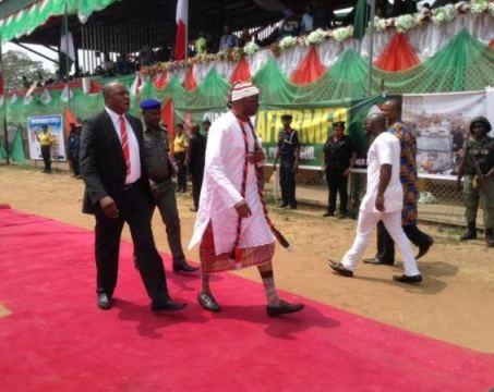 Governor Ayodele Fayose of Ekiti State rocks Igbo traditional attire to Governor Okezie Ikpeazu's thanksgiving on Wednesday, February 17, 2016