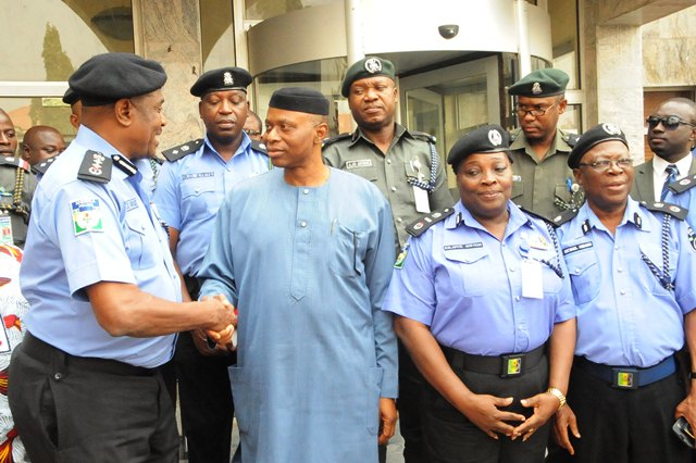Governor Segun Mimiko exchanging pleasantry with IGP Solomon Arase during a courtesy call to on the Governor in Akure on Friday, February 12, 2016 | Ondo TV