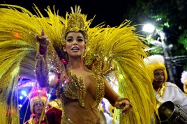 Revelers of Uniao da Ilha do Governador samba school perform during the first night of the carnival parade at Sambadrome in Rio de Janeiro, Brazil on February 7, 2016. AFP PHOTO/ VANDERLEI ALMEIDAVANDERLEI ALMEIDA/AFP/Getty Images