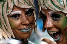 Revelers of Grande Rio samba school perform during the first night of the carnival parade at Sambadrome in Rio de Janeiro, Brazil on February 8, 2015. AFP PHOTO / YASUYOSHI CHIBAYASUYOSHI CHIBA/AFP/Getty Images