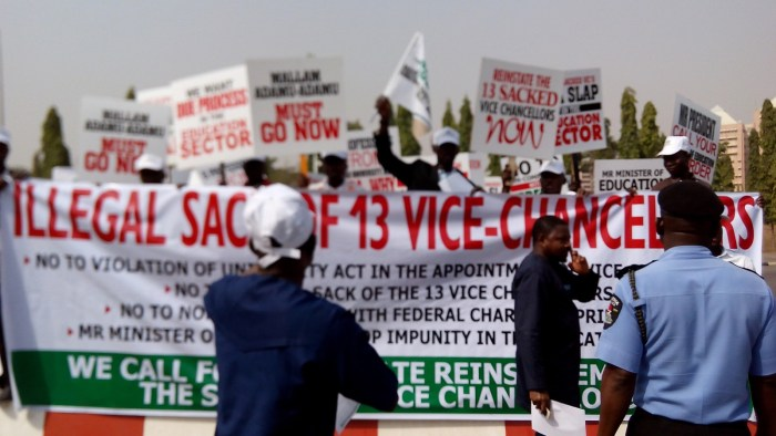 protest over sack of Vcs