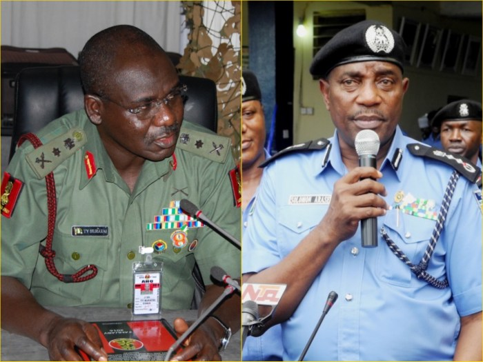 The Chief of Army Staff, Lieutenant General Tukur Yusuf Buratai (l), Inspector General of Police, Solomon Arase (r)