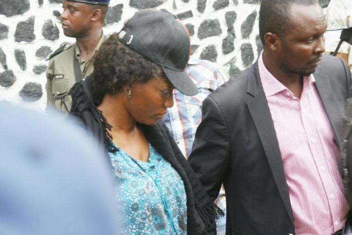 The INEC Official caught with three fake results sheets, Mrs. Ekwi Adebisa out of the police station in Mile 1, Port Harcourt on March 20, 2016
