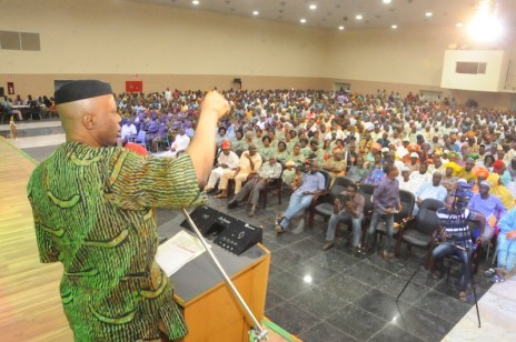 File: Governor Segun Mimiko addresses artisans, workers' unions in Ondo State during the 40th Anniversary of the State on February 24, 2016 at The Dome in Akure, Ondo | Ondo TV